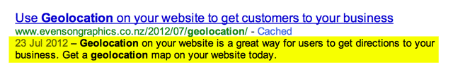 Meta Description in yellow as shown on Google