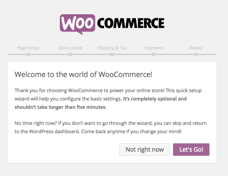 woocommerce set up screen