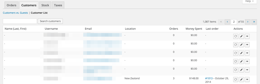Reports_Customer_list_woocommerce_WordPress